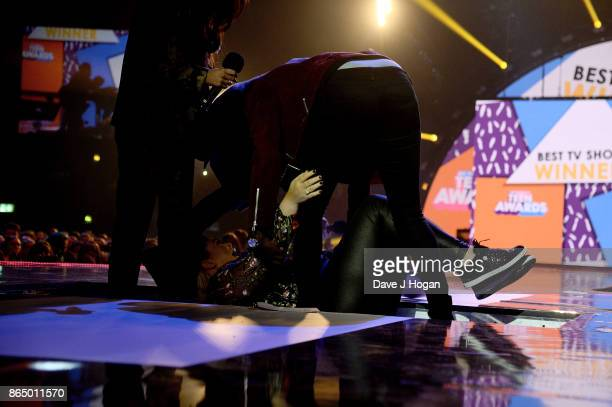 Gemma Collins falls over on stage at the BBC Radio 1 Teen Awards 2017 at Wembley Arena on October 22 2017 in London England