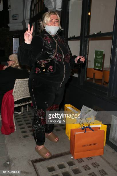 Gemma Collins is seen at Spaghetti House on Duke Street on April 29, 2021 in London, England.
