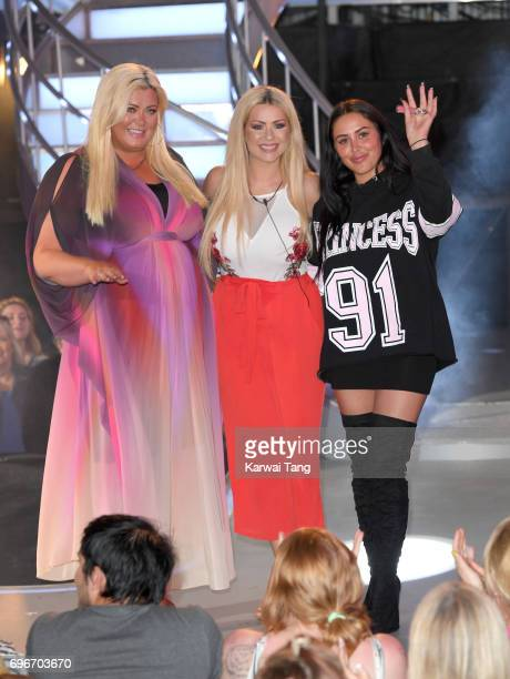Gemma Collins Nicola McLean and Marnie Simpson leave the Big Brother house at Elstree Studios on June 16 2017 in Borehamwood England