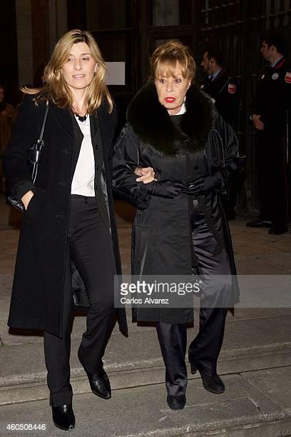 Gemma Cuervo and Natalia Guillen Cuervo attend a Funeral Service for Duchess of Alba at the Real Basilica de San Francisco el Grande on December 15...