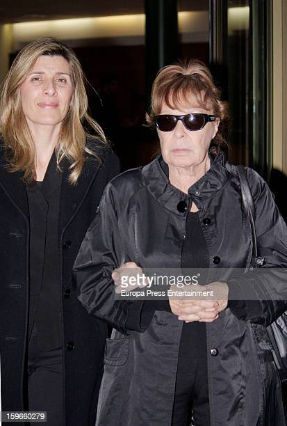 Gemma Cuervo and Natalia Guillen Cuervo attend the funeral chapel for actor Fernando Guillen at Tres Cantos Chapel on January 17 2013 in Madrid Spain