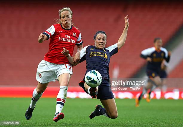 Gemma Davison of Arsenal Ladies battles with Lucy Bronze of Liverpool Ladies during the FA WSL Continental Cup match between Arsenal Ladies FC and...