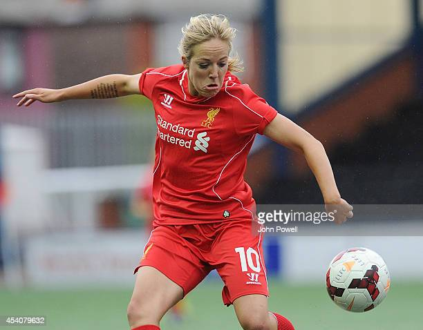 Gemma Davison of Liverpool in action at Select Security Stadium on August 24, 2014 in Widnes, England.