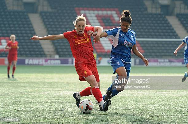 Gemma Davison of Liverpool Ladies and Jessica Carter of Birmingham City Ladies in action during the FAWSL fixture between Liverpool Ladies and...