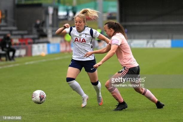 Gemma Davison of Tottenham Hotspur and Kasia Lipka of Sheffield United during the Vitality Women's FA Cup 5th Round match between Tottenham Hotspur...