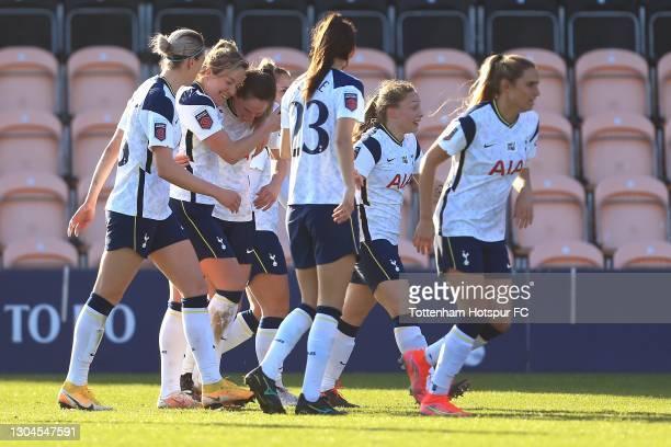 Gemma Davison of Tottenham Hotspur celebrates scoring during the Barclays FA Women's Super League match between Tottenham Hotspur Women and Everton...