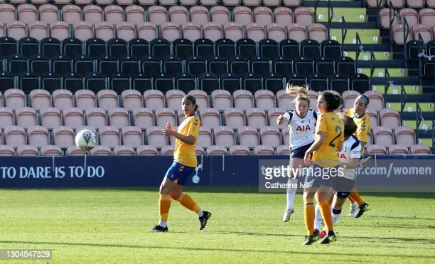 Gemma Davison of Tottenham Hotspur scores their sides second goal during the Barclays FA Women's Super League match between Tottenham Hotspur Women...