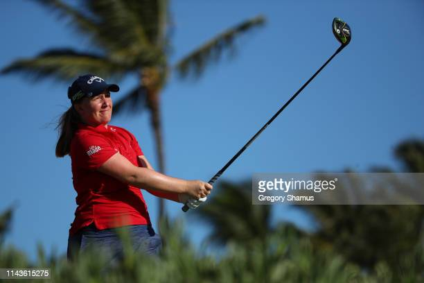 Gemma Dryburgh of Scotland watches her drive on the 13th hole during the second round of the LOTTE Championship on April 19 2019 in Kapolei Hawaii