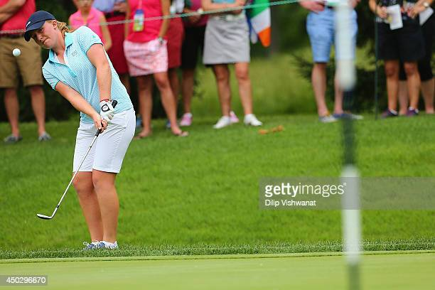 Gemma Dryburgh of Team Great Britain and Ireland chips on the the green on the second hole during the singles match in the 38th Curtis Cup Match at...