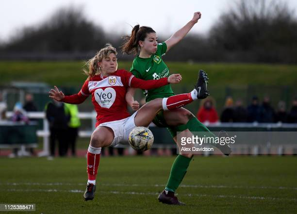 Gemma Evans of Bristol City Women competes with Charlotte Buxton of Yeovil Town Ladies during the FA Women's Super League match between Bristol City...