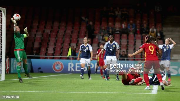 Gemma Fay of Scotland saves a shot from Alexia Putellas of Spain during the Group D match between Scotland and Spain during the UEFA Women's Euro...
