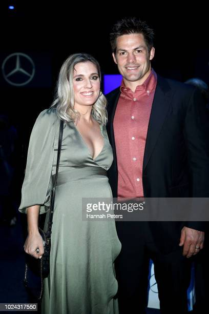 Gemma Flynn and husband Richie McCaw attend the MercedesBenz Presents Knuefermann show during New Zealand Fashion Week 2018 at Viaduct Events Centre...