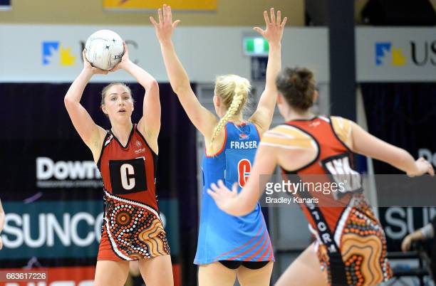 Gemma Henderson of the Storm looks to pass during the round seven Australian Netball League match between the Storm and the Waratahs at University of...