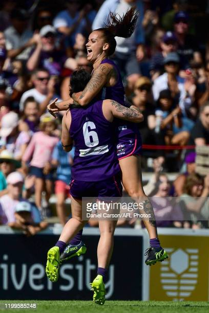 Gemma Houghton of the Dockers celebrates a goal during the 2020 AFLW Round 01 match between the Fremantle Dockers and the Geelong Cats at Fremantle...