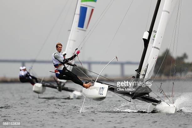 Gemma Jones of New Zealand and Jason Saunders of New Zealand compete in the Nacra 17 Mixed class on Day 5 of the Rio 2016 Olympic Games at the Marina...