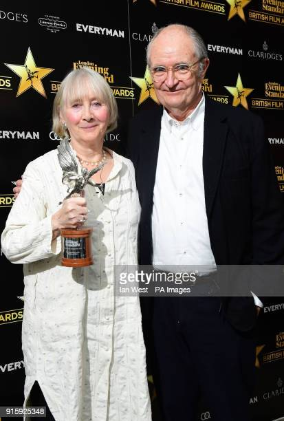 Gemma Jones winner of the award for Best Supporting Actress for her part in God's Own Country with Jim Broadbent who presented the award at the...