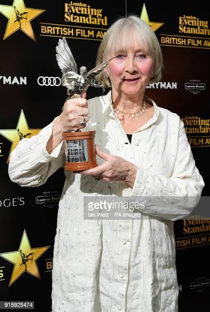 Gemma Jones winner of the award for Best Supporting Actress for her part in God's Own Country at the Evening Standard British Film Awards at...