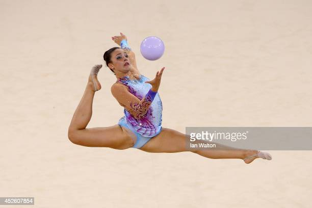 Gemma lightbourne of Bermuda competes in the Team Final and Individual Qualification at SECC Precinct during day one of the Glasgow 2014 Commonwealth...