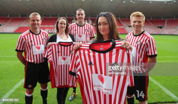 Gemma Lowery and and Lynn Murphy join Lee Cattermole John O'Shea and Duncan Watmore displaying the Bradley Lowery Foundation shirts to worn in the up...