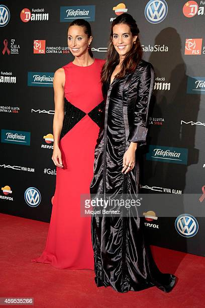 Gemma Mengual and Ona Carbonell pose during a photocall for 'Fifth Gala Against HIV 2014' at the Museu Nacional d'Art de Catalunya on November 24...
