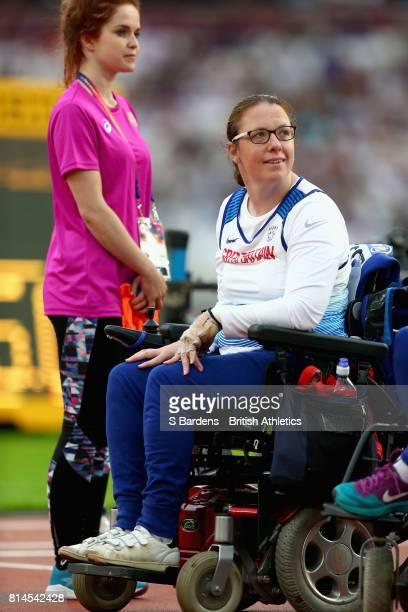 Gemma Prescott of Great Britain waits for her score during the Women's Club throw F32 during the IPC World ParaAthletics Championships 2017 at London...