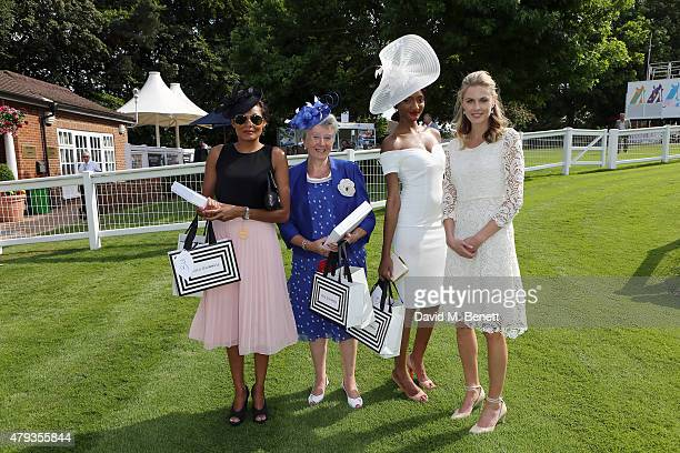 Gemma Rollins Jackie Hurley Sade BeckleyLines and Donna Air attend Sandown Park Racecourse Ladies' Day VIP lunch in Equus July 3 2015 in Esher England