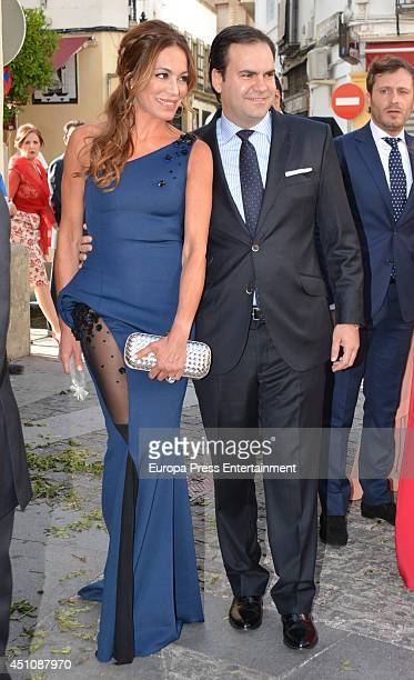 Gemma Ruiz Cuadrado and Jose Luis Diaz Fernandez attend the wedding of Veronica Cuevas and Manuel Del Pino on June 21 2014 in Cordoba Spain