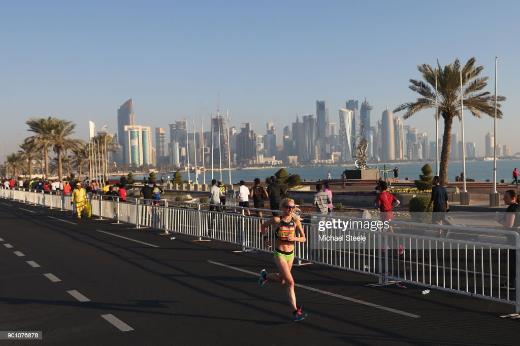Gemma Steel of Great Britain on her way to second place in the women's half marathon .The Ooredoo Doha Marathon is Qatar's largest mass-participation sports event with 2,400 athletes representing 83 countries. The sixth edition included elite athletes competing for prize money of $50,000 in half marathon distance on a 10km loop route along La Corniche on January 12, 2018 in Doha, Qatar.