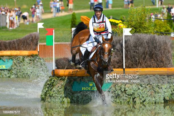 Gemma Tattersall of England riding Pamero 4 during the obstacle in the water of the Cross Country test DHLPrize in the park of the CHIO of Aachen on...
