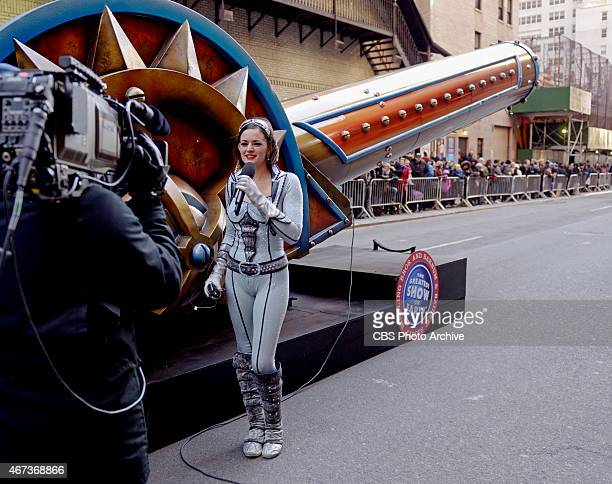 Gemma 'The Jet' Kirby from Ringling Bros Barnum Bailey Circus Xtreme is shot out of a cannon in front of the crowd on 53rd street in New York City...
