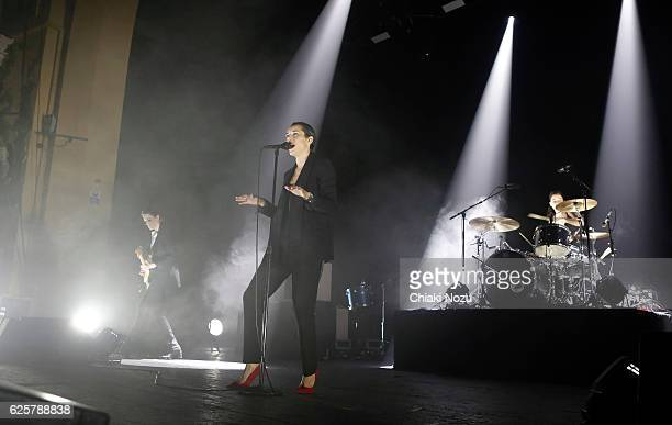 Gemma Thompson Jehnny Beth and Fay Milton of Savages perform at Brixton Academy on November 25 2016 in London England
