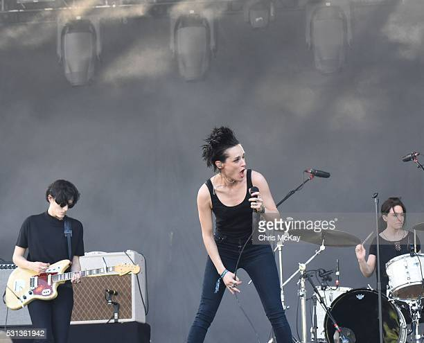 Gemma Thompson Jehnny Beth and Fay Milton of Savages perform at Shaky Knees Music Festival at Centennial Olympic Park on May 13 2016 in Atlanta...