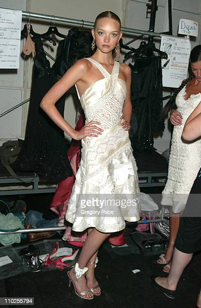 Gemma Ward backstage wearing a dress from the Carlos Miele Spring 2006 collection