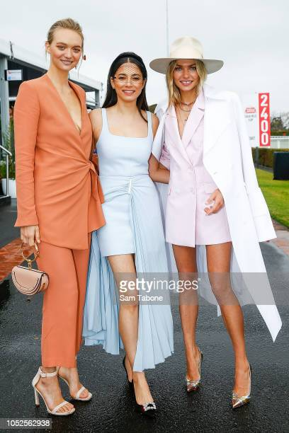 Gemma Ward Jessica Gomes and Jess Hart attends 2018 Caulfield Cup Day at Caulfield Racecourse on October 20 2018 in Melbourne Australia