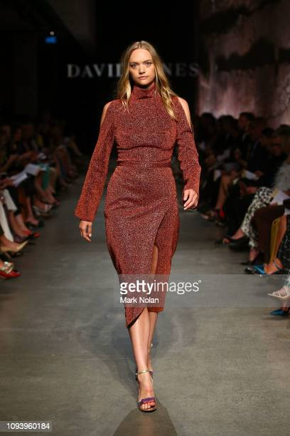 Gemma Ward showcases designs by CAMILLA AND MARC during the David Jones AW19 Season Launch 'The Art of Living' at The Museum of Old and New Art on...