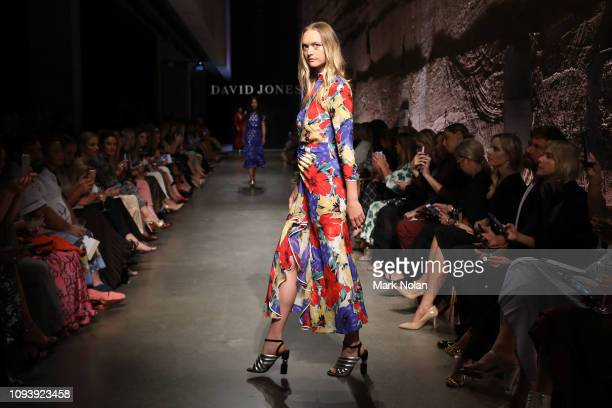 Gemma Ward showcases designs by Rixo London during the David Jones AW19 Season Launch 'The Art of Living' at The Museum of Old and New Art on...