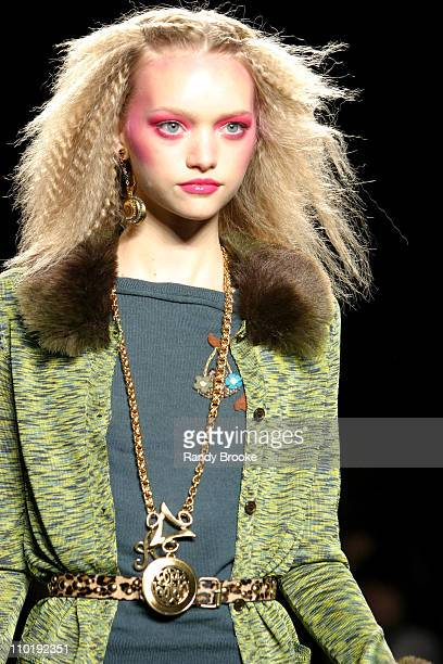 Gemma Ward wearing Anna Sui Fall 2004 during Olympus Fashion Week Fall 2004 Anna Sui Runway at The Tent at Bryant Park in New York City New York...
