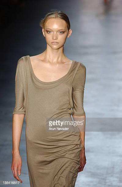 Gemma Ward wearing Calvin Klein Spring 2005 during Olympus Fashion Week Spring 2005 Calvin Klein Runway at 450 West 15th Street in New York City New...