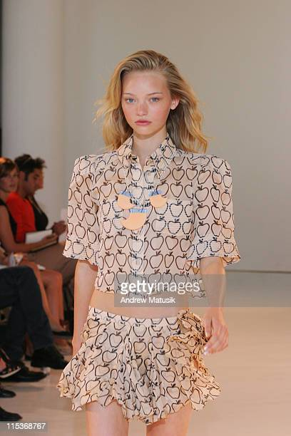 Gemma Ward wearing Lullea Bartley Spring 2005 during Olympus Fashion Week Spring 2005 Luella Bartley Runway at Boylan Studios in New York City New...