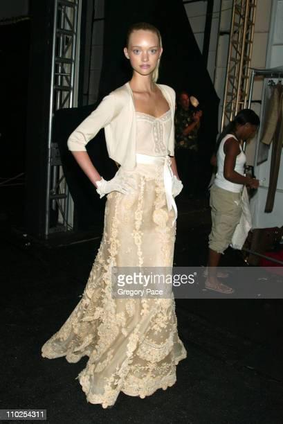 Gemma Ward wearing Oscar de la Renta Spring 2006 during Olympus Fashion Week Spring 2006 Oscar de la Renta Front Row and Backstage at Bryant Park in...