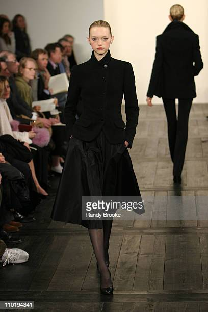 Gemma Ward wearing Ralph Lauren fall 2004 during Olympus Fashion Week Fall 2004 Ralph Lauren Runway at Dia Annex in New York City New York United...