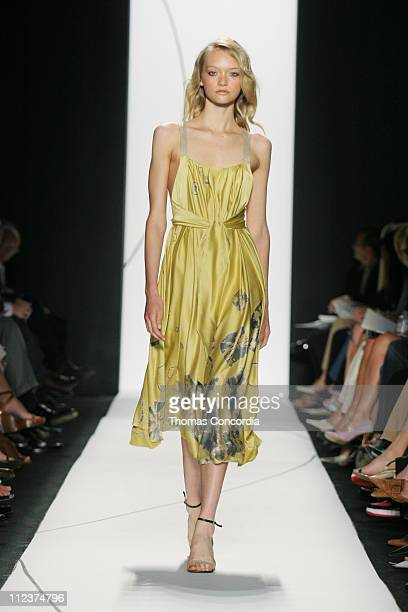 Gemma Ward wearing Vera Wang Spring 2005 during Olympus Fashion Week Spring 2005 Vera Wang Runway at Theater Tent Bryant Park in New York City New...