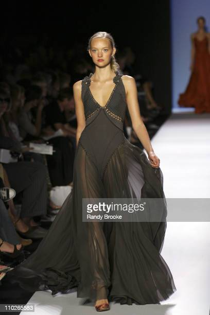Gemma Ward wearing Zac Posen Spring 2006 during Olympus Fashion Week Spring 2006 Zac Posen Runway at Bryant Park in New York City New York United...