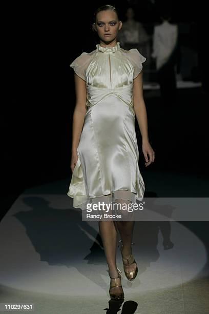 Gemma Ward wearing Zac Posen Spring 2007 during Olympus Fashion Week Spring 2007 Zac Posen Runway at The Tent Bryant Park in New York City New York...