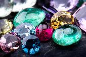 Gemstones collection jewelry set.