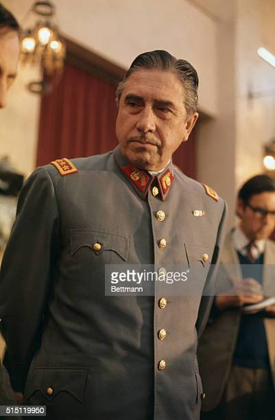 Gen Augusto Pinochet head of Chile's ruling military junta holds a news conference at Santiago's War College September 21 He said that neither the US...