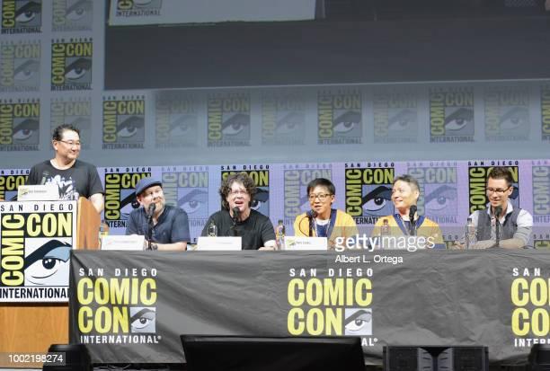 Gen Fukunaga Christopher Sabat Sean Schemmel Akio Iyoku and Norihiro Hayashida speak onstage during the Dragon Ball Super panel during ComicCon...