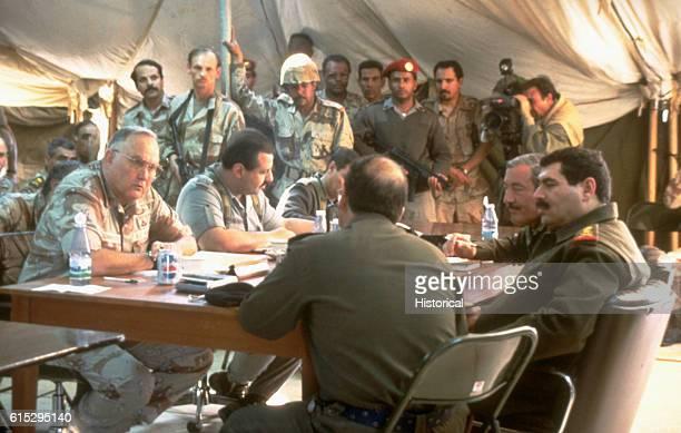 Gen H Norman Schwarzkopf commander in chief US Central Command and Lt Gen Khalid Bin Sultan Bin Abdul Aziz commander of Joint Forces in Saudi Arabia...