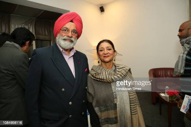 Gen JJ Singh and Anupama Singh at the launch of Over and Under Ground in Mumbai Paris an Indofrench illustrated book of poetry published by Westland...