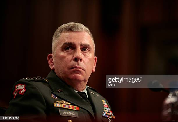 Gen John Abizaid chief of US Central Command testifies before the Senate Armed Services Committee on Capitol Hill in Washington DC on Wednesday...